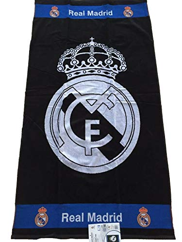 Real Madrid - Toalla de playa (86 x 160 cm), color negro