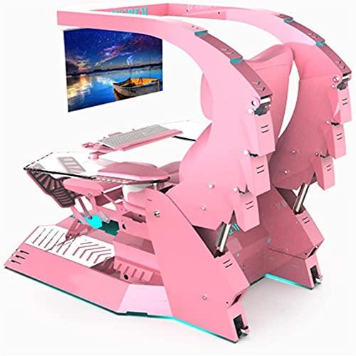 Super Deluxe Racing Sustilla de juego Oficina Ejecutiva Cockpit Gaming Station Videojuegos Silla de juego, mesa de computadora y silla, silla giratoria trasera alta, con reposacabezas, soporte lumbar