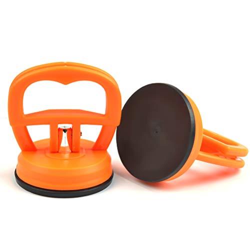 FOCCTS 2 Stück Dellen Saugnapf Abzieher Ausbau Werkzeug Mini Glassauger Saugheber Glasheber Klein Saugnapfhalter,5.5CM Orange