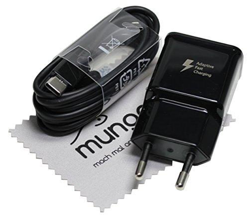 Ladegerät für Original Blitz Ladekabel Samsung für Samsung Galaxy S9, S9 Plus (G965F) USB Typ-C Schnellladekabel Schnellladegerät Datenkabel Kabel 2A 1,5 m schwarz mit mungoo-Displayputztuch