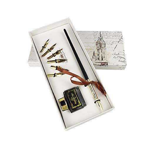 penna stilografica in legno per calligrafia, penna stilografica per calligrafia, supporto obliquo per penna a immersione +5 pennini/6 pennini, inchiostro nero, perfetto per calligrafia principianti