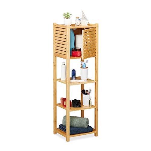 Relaxdays badkamerrek van bamboe, 4 planken & 1 vak met deur, badkamer & keuken, smalle badmeubilair, h x b x d: 113 x 35 x 29 cm, natuur, 1 stuk