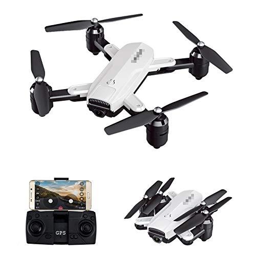 QqHAO Cámara aérea del abejón 4K HD de GPS Que dobla el Juguete teledirigido del Aeroplano del Quadcopter 5G,Blanco,1080 Optical Flow