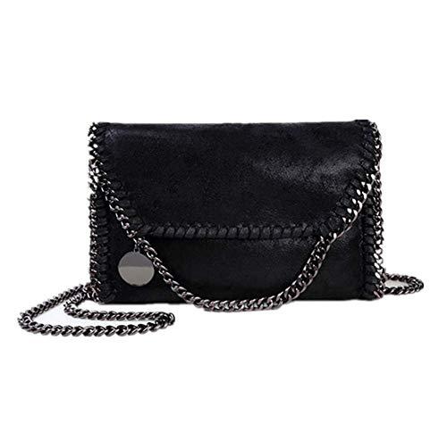 Bolso Casual de Mujer, Bolso de Hombro de Cuero PU, Bolso de Moda con Cadena (Cadena Negra)