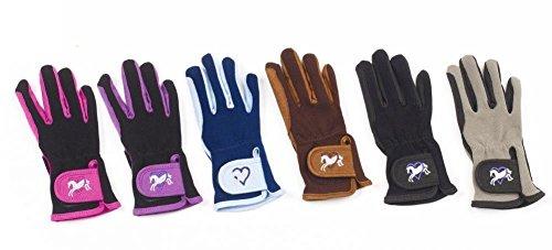 Ovation Child Heart & Horse Gloves,Purple/Black,size A 8-10