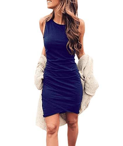 Ajpguot Vestiti da Donna Rotondo Collo Abiti Estivo Irregolare Abito a Tubino Elegante Mini Vestito di Colore Solido
