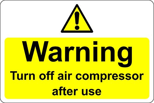 Art Sign Tin Metal Sign 12x16in,Warning Turn Off air Compressor After use,Garage Man Cave Sign Decor Home Road Sign Hazard Labels Aluminum Metal Sign