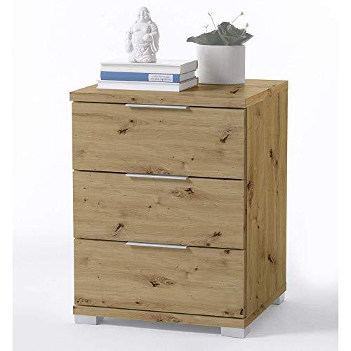 Universal Nachttisch in Artisan Eiche Optik - Moderner Nachtschrank mit drei Schubladen für Ihr Boxspringbett - 46 x 61 x 42 cm (B/H/T)