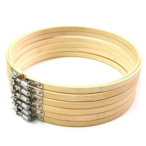 BIKHYY 6 Stück Stickrahmen Ø 20cm Bambus Stickerei Ring Nähset Kreuzstich Rahmen für DIY Tapisserie Stickerei Hochzeit Deko