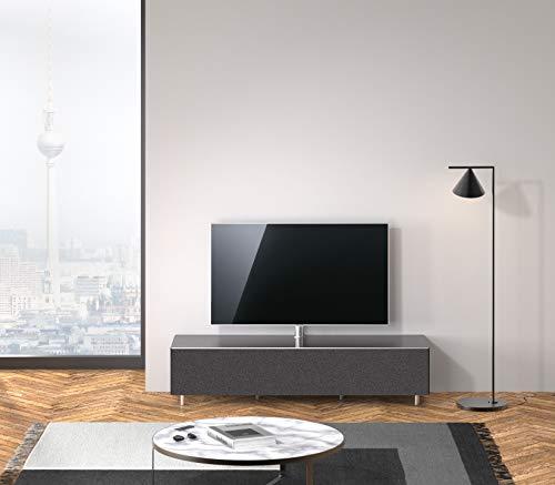 SPECTRAL® Just-Racks TV-Sound-Lowboard JRL1654T-BG inkl. TV-Halterung und Universal Soundbar Ablage, Stoffbespannte Klappe, (B/H/T) 165,2x38x48cm, Glasoberflächen und Akustikstoff
