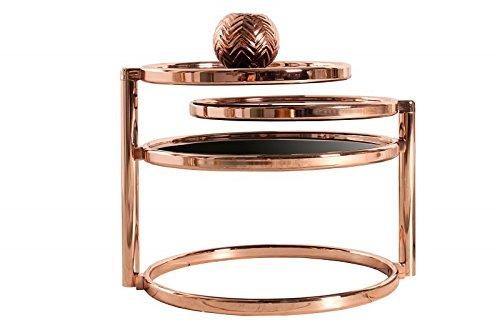 DuNord Design Beistelltisch Couchtisch Glas rund Kupfer Plate 3 Art Deco Design schwarz Retro
