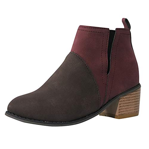 NPRADLA Damen Freizeitschuhe Herbst Round Toe Joint Thick Square Heel Slip On Flache Schuhe Damen...