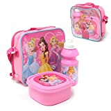 Disney Princess 3 Piece Thermal Lunch Bag Set Childrens Carrier Lunch Box with Bottle for School