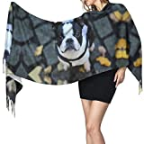Boston Terier On Leaves Large Extra Soft Blanket Wrap Shawl Large Fashion Shawl Christmas Scarves 68196cm