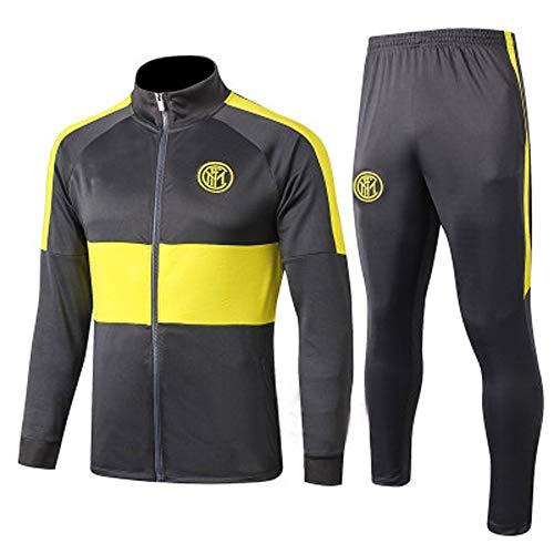 HQIUYI Men's Jersey Jacket 19-20 Inter Milan Long Sleeve Football Training Suit, Fall Outfit Jacket Set