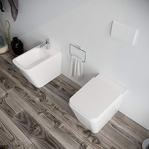 Sanitari bagno filomuro a terra Bidet e Vaso WC in ceramica con sedile coprivaso softclose. SQUARE
