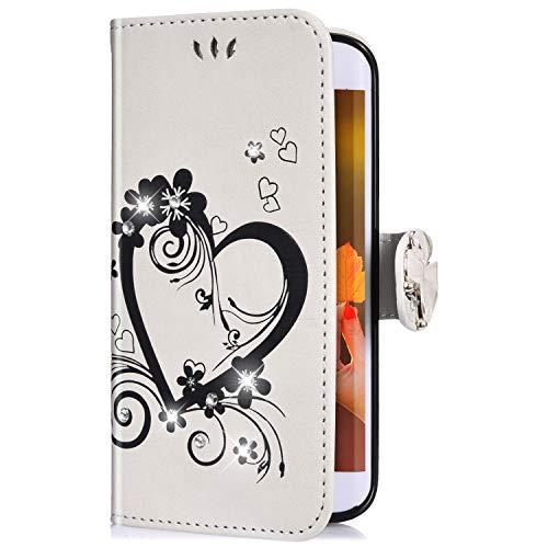 Uposao Coque Samsung Galaxy J7 2017 Pochette Portefeuille en Cuir,Luxe Glitter Diamant Cœur Motif Coque à Rabat Magnetique PU Housse Etui de Protection Stand Flip Case pour Galaxy J7 2017,Blanc