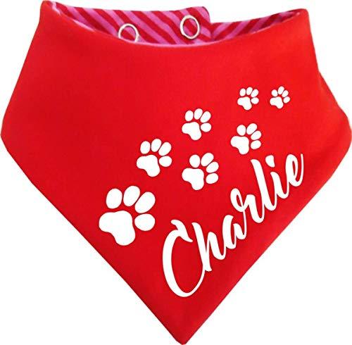 KLEINER FRATZ gestreiftes Hunde Wende- Halstuch (Fb: rot-Fuchsia/rot) (Gr.1 - HU 27-30 cm) mit dem Namen Ihres Tieres