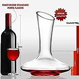 ADMY Wein Dekanter, 1.8L Weinkaraffe Set aus Kristallglas, Rotwein Bleifreies Glasdekanter, Dekantiergefäß Glasbelüftungsweinkaraffe Decanter, Dekantierflasche Geschenk für Weihnachten Weinliebhaber - 5