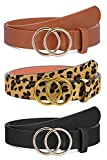 3 Pack Women Leather Belts Faux Leather Jeans Belt with Double O Ring Buckle (Black & Brown & Leopard, S)