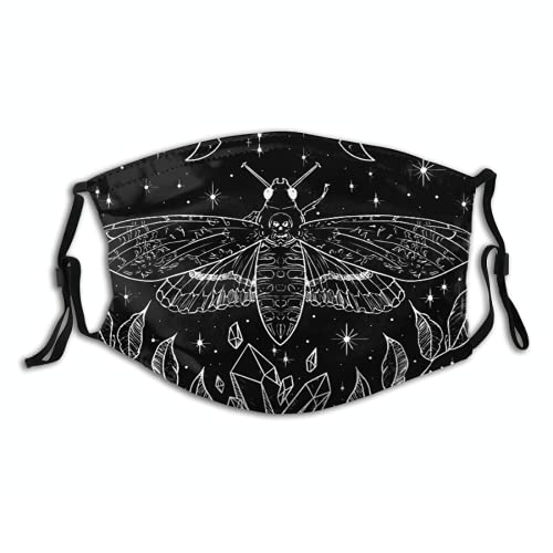 Death Head Moth Skull Cloth Face Mask, Washable Adjustable Bandanas Balaclava Dust-Proof Print Reusable Fabric Mask With 2 Pcs Filters for Women Men