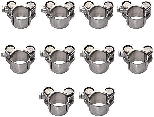 Protser 10 Stück T-Bolzen Schlauchschellen Sortiment Edelstahl Hochleistungs-Ohrschellen Rohrschellen Schlauchschellenklemmen (20-22mm)