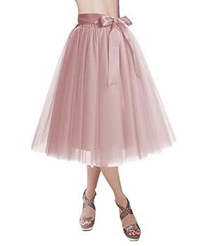 DRESSTELLS Tutus for Women Tulle Skirt Knee Length Girls Tutu Skirt for Evening Party Homecoming Gown Prom Blush M-L