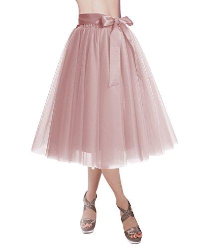 DRESSTELLS Knee Length Tulle Skirt Tutu Skirt Evening Party Gown Prom Formal Skirts Blush M-L