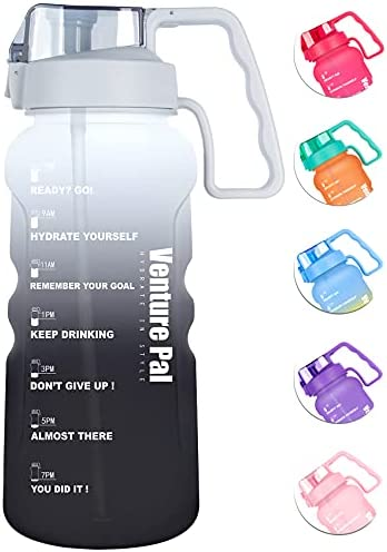 Venture Pal Large 64&128 OZ Motivational BPA Free Leakproof Water Bottle with Straw & Time Marker Perfect for Fitness Gym Camping Outdoor Sports