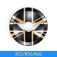 MINIクーパーS R55 R56 R57 R60 R61車のステアリングホイールカバーデコレーションカーアクセサリーインテリアスタイリングシェル車のステッカーのための インテリアパネル (Color : Black gold flag)