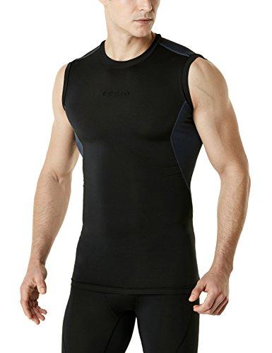 TSLA Men's Sleeveless Workout Shirts, Dry Fit Training Tank Top, Athletic Running Compression Cutoff Shirts, Mesh(mua75) - Black & Charcoal, Large