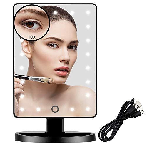 FUNTOUCH Espejo Maquillaje con Luz Aumento 1X 10X, Regulable Espejo Maquillaje de Mesa Recargable USB y Bateria Disponible, Espejo con Luz 180° Rotación (Negro)
