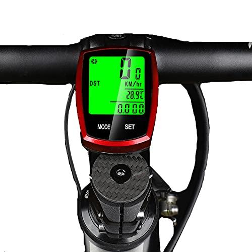 Ordenador para bicicleta, velocímetro inalámbrico y cuentakilómetros a prueba de agua con retroiluminación con pantalla LCD digital con despertador y multifunciones para ciclismo al aire libre y fit