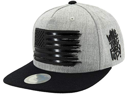 Flipper American Flag Flat Brim Bill Baseball Cap Snapback Hat for Men Women, Gray, Adjustable, Free Size, One size