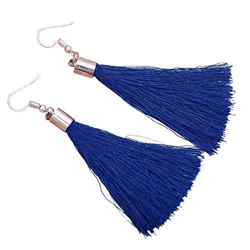 Pendientes De Estilo étnico Pendientes De Borla Largos Pendientes De Personalidad De Mujer(Azul)