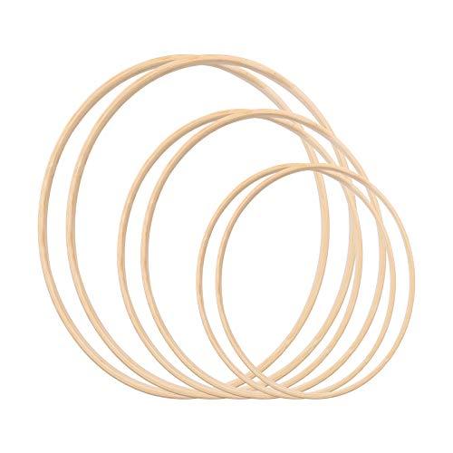 Gukasxi - Set di anelli per ghirlande in legno di bambù con motivo floreale in macramè, ideale per fai da te e acchiappasogni, decorazioni per matrimoni e decorazioni da parete (20/25/35 cm)