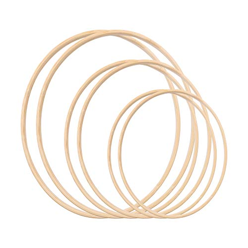 Gukasxi Wreath Rings Wooden Bamboo Floral Hoop Set Large Macrame Crafts Hoops for DIY Dream Catcher, Wedding Wreath Decor and Wall Hanging Crafts (20/25/35cm)