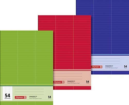 Brunnen 1043735 Vokabelheft (A4, 32 Blatt, liniert, 3 Spalten, Lineatur 54) 1 Stück