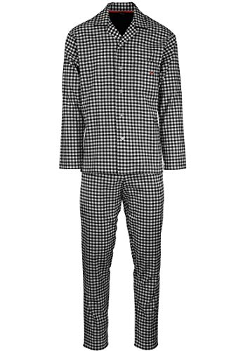 HOM - Herren - Pyjama Set \'Vichy\' - hochwertige Schlafmode Long Woven Sleepwear - Black/White 2XL