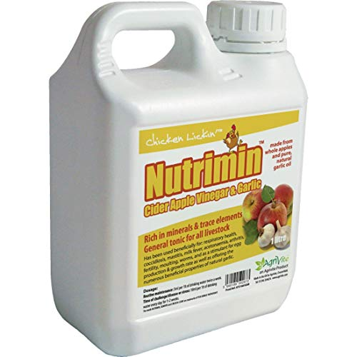 Nutrimin Cider Apple Vinegar and Garlic 1 Litre for Chickens Poultry Hatching Eggs (Pack of 10)