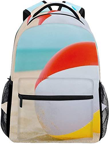 MODORSAN Mochila escolar informal con estampado de pelota de playa, mochila de viaje ligera, bolso de hombro universitario para mujeres, niñas y adolescentes