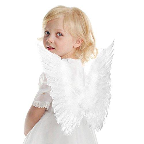 Lalang Engelsflügel Karneval Kostüm Feder Flügel, Mädchen (Kinder, Weiß)