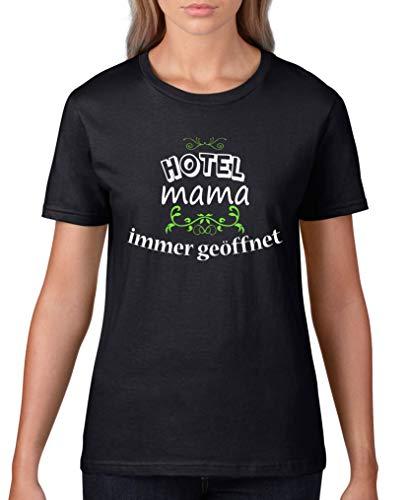 Comedy Shirts - Hotel Mama Immer geoeffnet - Damen T-Shirt - Schwarz/Weiss-Neongrün Gr. XXL