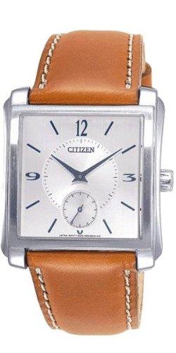 Reloj CITIZEN Unisex be9110–31B Solar acero quandrante plateado correa piel