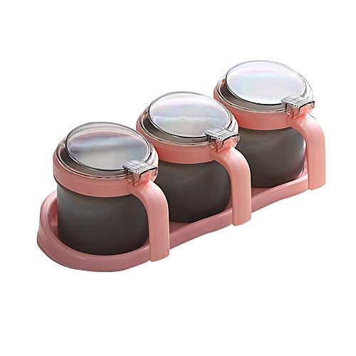 YUMEIGE Gewürzflaschen Kunststoff Transparent Material mit Deckel, Würze Flaschen-Kasten, Würze Vorratsbehälter Ständer, 3 Sets von Vanille und Gewürz-Gläser, Zwei Farben (4 Sets)
