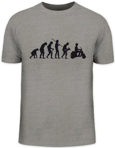 Shirtstreet24, EVOLUTION MOTORROLLER, Mofa Funshirt, Größe: L,graumeliert
