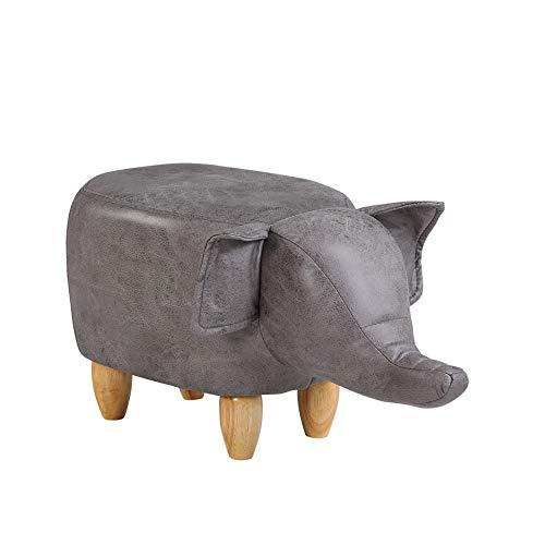 TUKAILAI Animal Shape Footstools Ottomans Padded Cushion Footstool Pouffe Stool Rest Seat Sofa Chair (Grey elephant)