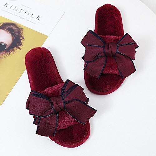 B/H Cotone Slipper Antiscivolo,Pantofole di Peluche Femminili con Una Sola Parola, Simpatiche Pantofole in Cotone Tinta Unita per Il confinamento-Vino Rosso_35-36