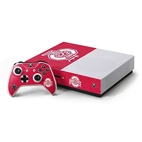 Skinit Decal Gaming Skin Compatible with Xbox One S Console and Controller Bundle - Officially Licensed Ohio State University OSU Ohio State Buckeyes Red Logo Design