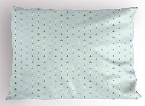 Funda de almohada para cojín, diseño de ancla, pequeños anclas y corazones, romántico, para día festivo, con temática de océano, decoración estándar de tamaño Queen, funda de almohada estampada de 16 x 24 pulgadas, color azul y blanco